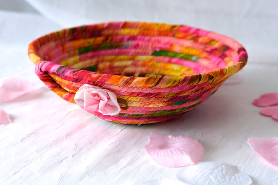 Magenta Fabric Basket, Handmade Artisan Bowl, Cute Key Tray, Desk Accessory Basket, Pink Artisan Quilted Bowl, Ring Dish