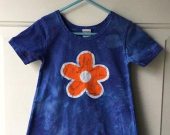 Blue Girls Dress, Flower Girls Dress, Batik Girls Dress, Orange Flower Girls Dress, Blue Flower Dress, Girls Flower Dress (2T)