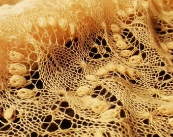 Handknitted shawl, Estonian lace, delicate lace, yellow, merinowool, rectangular wrap. Ready to ship.