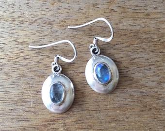 Moonstone Earrings, Sterling Silver Earrings, Oval Shaped Moonstone 925 Sterling Silver Disc Earrings
