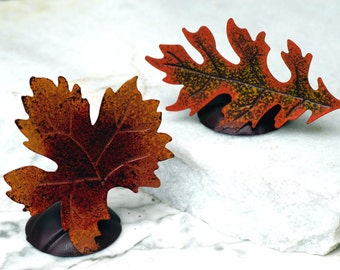 Set of 24 Maple Oak Leaf Place card Holders - Rustic Wedding Shabby Chic Wedding Decor Photo Prop