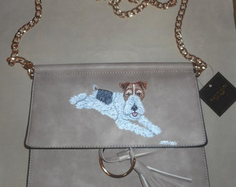 Fox Terrier Dog Hand Painted Leather Handbag Bag Purse