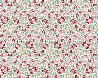 Tilda Designs Cottage Collection in Sigrid Dove White, Floral Pattern, Busy Fabric, Bright Colored Fabric