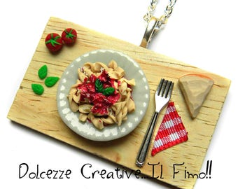 necklace set - pasta - Fusilli with sauce, Basil and cheese - tomato miniature