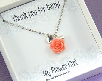 Flower Girl Gift,Flower Girl Necklace,My Flower Girl Necklace,Flower Girl Gifts,Junior Bridesmaids,Flower Necklace