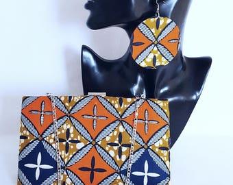 Orange Wax Print clutch bag set Ankara clutch bag Box clutch Tribal clutch bag, Custom made Bag Clutch Bag Accessories Gift