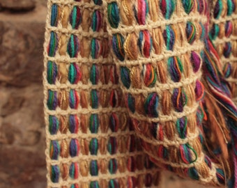 Multicolor scarf, Pure Wool,  Crochet-knitted with intertwined wool threads, Colorful scarf, gift for her, long scarf, handmade scarf