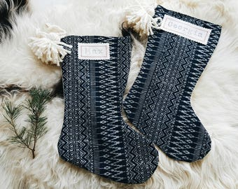 Indigo Hmong Batik Christmas Stockings - Boho Christmas Décor - Modern Bohemian Stocking with Pom Poms