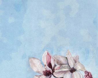 Printable Watercolor Magnolia Blossoms for Planner Calendar Journal Bullet Journal Page undated digital download
