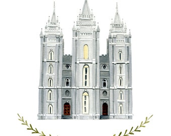 Salt Lake City Utah LDS Temple Illustration - Archival Art Print