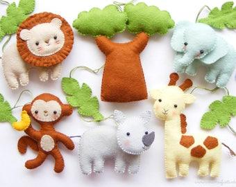 Felt PDF sewing pattern - Safari animals. Baby crib mobile ornaments. Giraffe, lion, rhino, monkey, elephant, baobab tree, jungle leaves