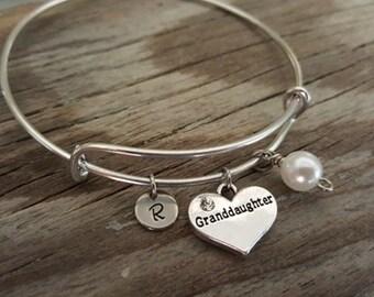 Granddaughter Bangle - Granddaughter Bracelet - Granddaughter Gift - Granddaughter Heart Jewelry - I/B