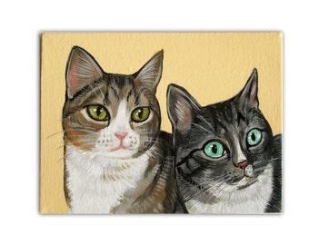 Custom Cat Portrait / Custom Dog Portrait - 2 Pets - Solid Background - Original 6 x 8 x 0.75 inch Acrylic Painting on Stretched Canvas Pugs