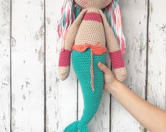 "Mermaid Doll, 25"" Mermaid Doll, Crochet Mermaid, Crochet Doll, Mermaid, Crochet Doll"