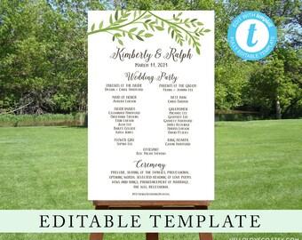 Editable Wedding Program Sign Template, Custom Ceremony Sign, Wedding Bridal Party, Green Leafy Outdoor Wedding, Templett, Digital File