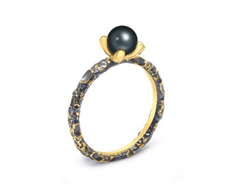 Black Pearl Stackable Ring - 925 Silver Ring, Silver Jewelry, Black Pearl Jewelry, Black Pearl Ring, Black Pearl Silver Ring | Rough Marl
