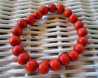 291  Womens 8mm Light Tangerine handmade beaded elastic bracelet-Mens 8mm Light Tangerine handmade beaded elastic bracelet-8mm Light Tangeri
