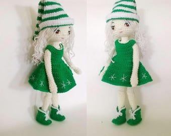 PDF doll amigurumi pattern - crochet doll pattern- Christmas doll #023 INSTANT DOWNLOAD