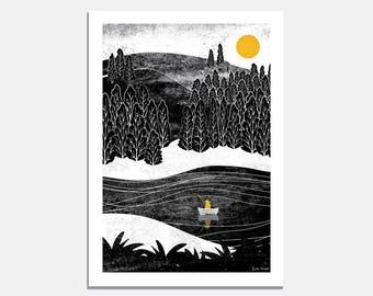 Gone Fishing Art Print / wall art / fishing / wilderness / black and white  / forest / lake / night sky / boat / cabin / sun / wild / cabin