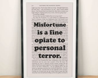 Far From The Madding Crowd Book Page Art Misfortune Is A Fine Opiate Print