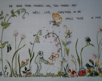 Hand Embroidery pattern frog mouse verse children nursery scene PART 2