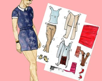 Paper doll Printable paper doll Fashion paper doll Dress up doll Julia #002 Digital paper doll Cut out doll