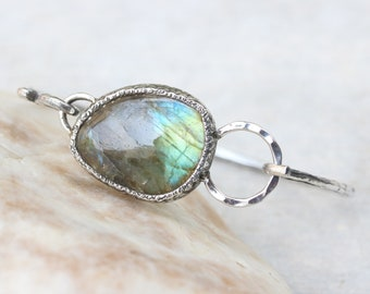 Cabochon labradorite bracelet in silver bezel setting on oxidized sterling silver with texture band