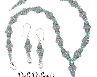 X-Necklace & Earrings beaded pattern tutorial by Deb Roberti