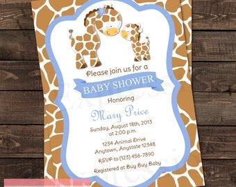 Mommy and Baby Giraffe Baby Boy Blue Baby Shower invitation