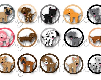INSTANT DOWNLOAD Dog Puppies 1 inch Bottlecap Image dogs puppy puppies plain bottle cap animal breeds cartoon cute playful sweet adorable