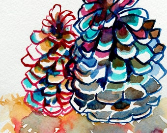 Two Colorful Pinecones Watercolor Original Painting The Desert Moon Forest Trees Woods Pine Cone Pine Tree