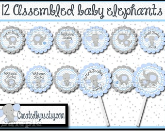 Baby Elephant Cupcake Toppers Elephant Baby boy shower Decorations Custom baby elephant favors cupcake picks topper cupcake top 12 assembled