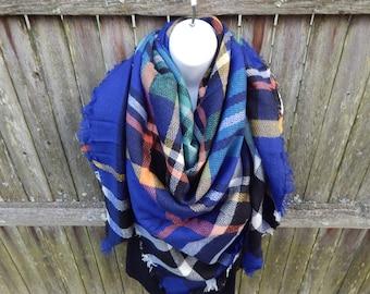Blue/ Multi Color Blanket Scarf