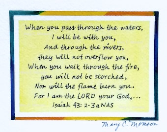 Scripture Card - Isaiah 43:2-3a Original hand-painted, signed.  Free shipping