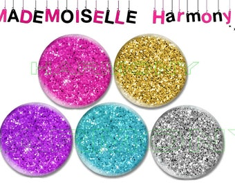5 glass cabochons 25 mm glitter cabochons 25 mm size