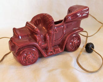 Vintage McCoy Buckingham Ceramics Maroon Automobile Console or TV Lamp Planter in Excellent Condition!