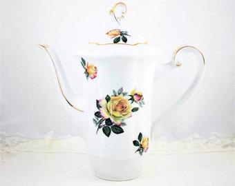 Beautiful Rheinpfalz Hartporzellan Coffee Pot, Teapot, Yellow Roses with Shades of Pink