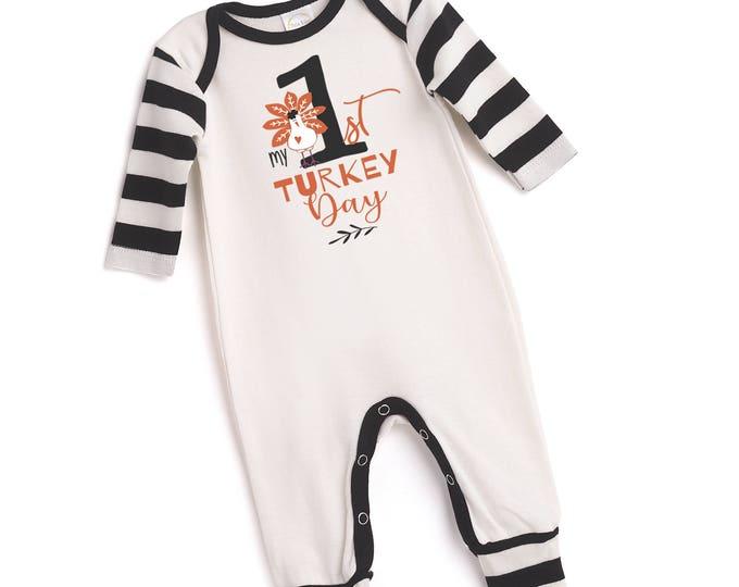 My 1st Thanksgiving Outfit, Newborn Thanksgiving Romper, Turkey, Baby Boy Girl Thanksgiving Bodysuit, Turkey, My First Thanksgiving Tesababe