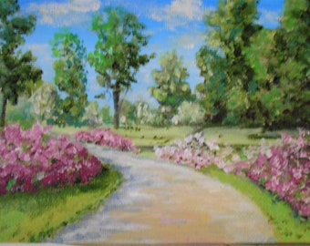 Original Oil Painting Art Small Azalea Path landscape 5 X 7 inches Top selling artist