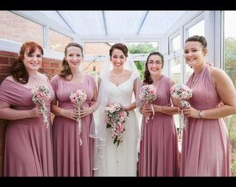 Bridesmaid dress wedding dress Infinity dress Convertible dress stretch lycra dusky pink multiway maxi dress FREE tube top made to order