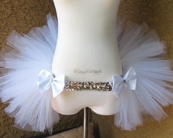 White Silver Open in the front Rave TuTu, Half TuTu, Bustle, Adult Tulle TuTu Skirt, DanceWear