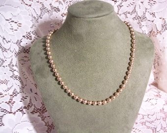 vintage gold tone bead choker necklace