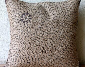 Decorative Pillow Sham Covers Couch Sofa Bed Toss Pillows 24x24 Pillows Sham Case Jute Embroidered Home Decor Housewares - Jute Fetish