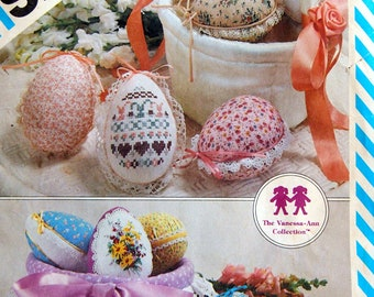 Decorated Easter Eggs And Baskets Cross Stitch Embroideries Included - One Size Simplicity 6315 Vintage Uncut Sewing Pattern 1983