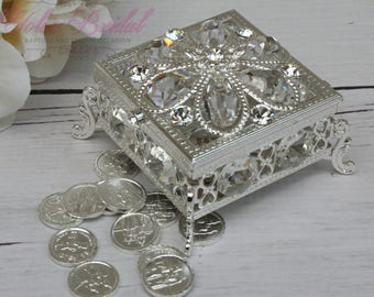 FAST SHIPPING!! Silver Wedding Unity Coins, Wedding Arras,  Wedding Coins, Ring Box, Wedding Gift