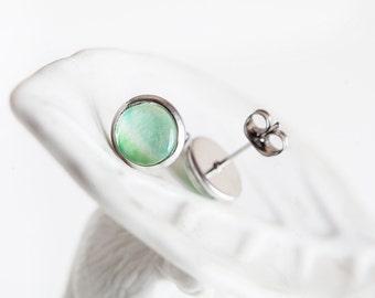 Mint Green Studs, Spearmint, Mint Jewelry, Mint Studs, Green Studs, Pastel Green Studs, Greenery, Green earrings, Aqua Green