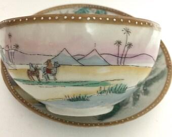 Cup and Saucer, Camel Scene Vintage, Vintage Teacup, Christmas teacup, Camel cup,