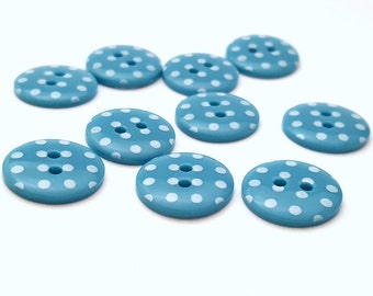 Turquoise buttons with white spots. 2 hole buttons. 15mm. Pack of 10