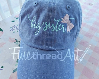 KIDS Big Sister with Bow Monogram Baseball Cap Hat for Girls Youth Size Name Initials Leather Strap Pregnancy Announcement Gender Reveal