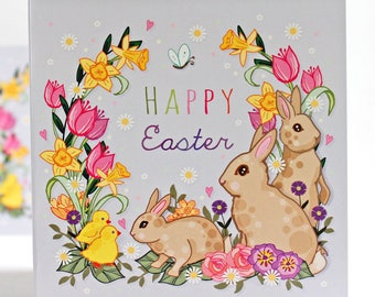 Easter Card (single) - Easter - Happy Easter Card - Easter Bunny Card - Greeting Card - Easter Greeting - Happy Easter